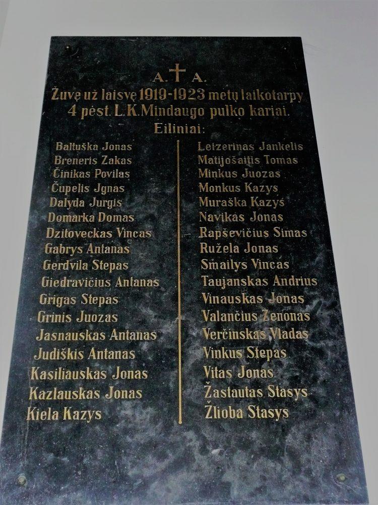 Atminimo lenta 1919–1923 m. žuvusiems už Lietuvos laisvę Ketvirtojo pėstininkų Lietuvos Karaliaus Mindaugo pulko kariams. Nuotrauka Aušros Veličkienės