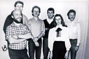 Karininkų maždaug paskutinė sudėtis. Iš kairės: V. Bičkūnas, R. Viksva, V. Verbickas, V. Laučiškis, solistė Rasa Kleivaitė ir V. Kokalas