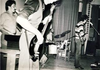 """""""Karininkų ansamblis"""". Iš kairės: Vidas Kokalas, arčiau – Paulius Bitėnas, Virgis Bičkūnas ir Vidmantas Verbickas"""