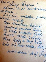 2. Mato Grigonio sveikinimas Reginai Kietytei vardo dienos proga. 1960 m. Iš R. Kietytės asmeninio archyvo