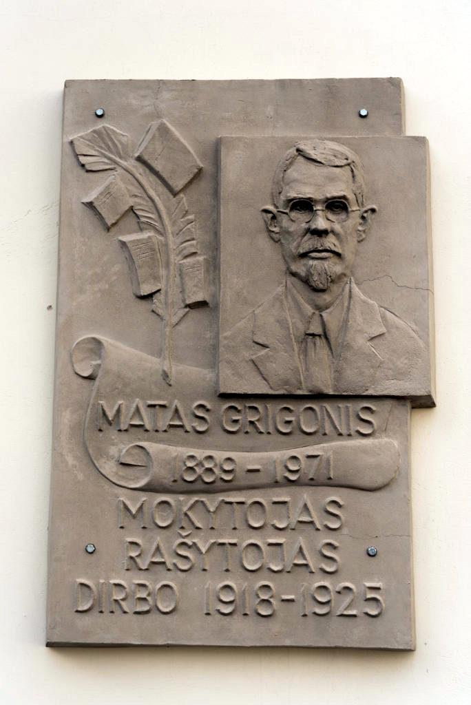 Mato Grigonio bareljefas. Nuotrauka Mazylis Media