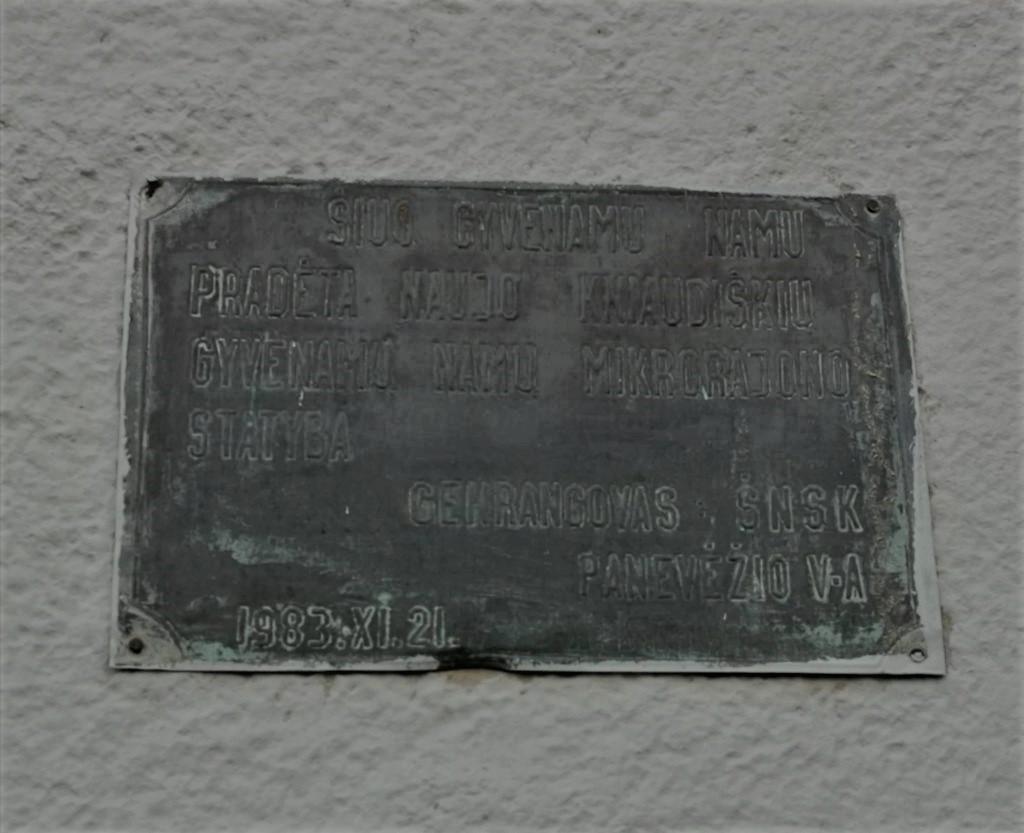 Atminimo lenta Kniaudiškių mikrorajono statybų pradžiai. Nuotrauka Astos Rimkūnienės