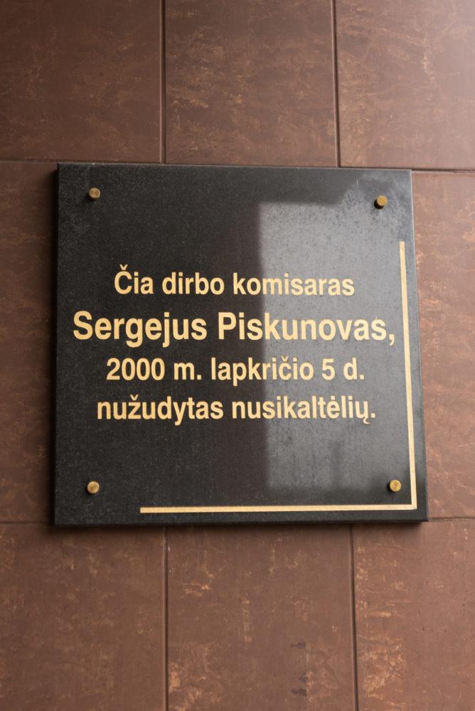 Atminimo lenta Sergejui Piskunovui. Nuotrauka Mazylis Media