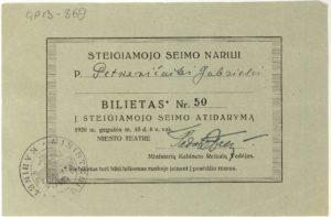 Bilietas Nr. 50 į Steigiamojo Seimo atidarymą Steigiamojo Seimo narei Gabrielei Petkevičaitei. 1920 m. gegužės 15 d. LLTI MB F30-869