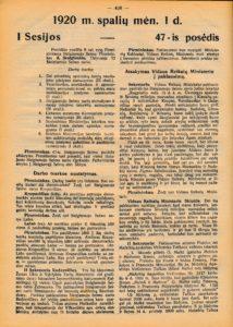 Steigiamojo Seimo pirmininko pranešimas apie Kazio Škirpos atvykimą į posėdį vietoj pasitraukusios narės G. Petkevičaitės. Steigiamojo Seimo darbai, 1920, sąs.10, p. 438. PAVB S 2093