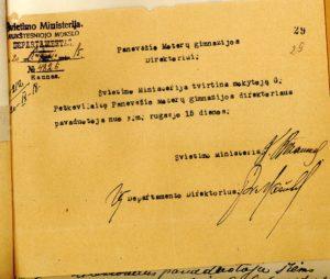Švietimo ministerijos Aukštesniojo mokslo departamento raštas Panevėžio moterų gimnazijos direktoriui apie G. Petkevičaitės patvirtinimą šios gimnazijos direktoriaus pavaduotoja. 1920 m. rugsėjo 15 d. LLTI MB. Panevėžio valdžios berniukų gimnazijos mokytojos G. Petkevičaitės tarnybinė byla, l. 29