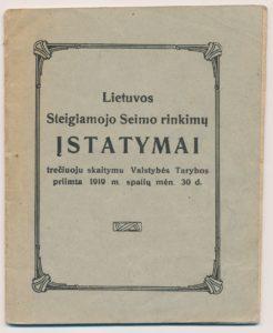 Steigiamojo Seimo rinkimų rinkimų įstatymai. Kaunas, 1919. PAVB S 15194