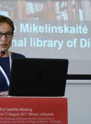 Juozo Miltinio palikimo studijų centro vadovė Angelė Mikelinskaitė tarptautinėje IFLA lydinčioje konferencijoje Vilniuje. 2017 m.