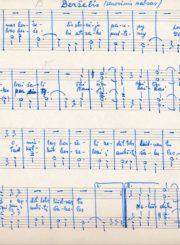 Berželis: senovinis valsas: [rankraštinės natos] / harmonizuota Vytauto Vilkončiaus. Panevėžys. Apie 1954 m. Panevėžio apskrities Gabrielės Petkevičaitės-Bitės viešoji biblioteka, Vytauto ir Silvijos Vilkončių šeimos fondas F154-56