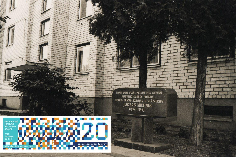 Atminimo lenta Juozui Miltiniui prie Juozo Miltinio palikimo studijų centro. Sergejaus Kašino nuotr.