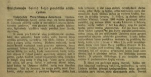 Steigiamojo Seimo 1-ojo posėdžio atidarymas. Steigiamojo Seimo darbai : [posėdžių stenogramos]: 1920 m. 1-sis sąs., p. 1, 2. PAVB S 2093