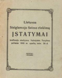Lietuvos Steigiamojo Seimo rinkimų įstatymai. Kaunas, 1919. PAVB S 15194
