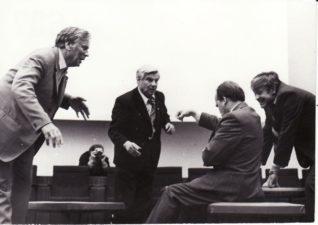 Kazimieras Vitkus, Vaclovas Blėdis, Gediminas Karka ir Donatas Banionis gastrolių metu Maskvoje. 1974 m. PAVB FKV-445/5