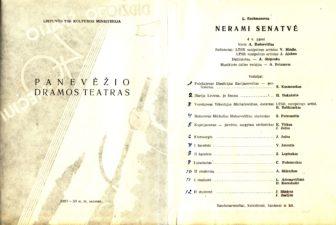 """L. Rachmanovas """"Nerami senatvė"""" (rež. V. Blėdis, J. Alekna), 1957 m."""