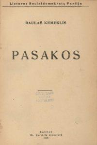Pasakos / Raulas Kemeklis. Kaunas, 1920. PAVB S 1607