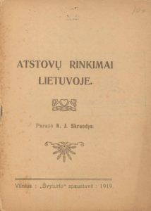 Atstovų rinkimai Lietuvoje / J. Skruodys. Vilnius, 1919. PAVB S 10561