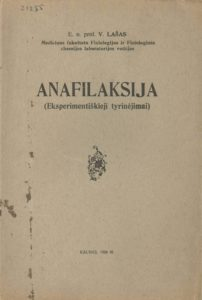 Anafilaksija / V. Lašas. Kaunas, 1926. PAVB S 11342
