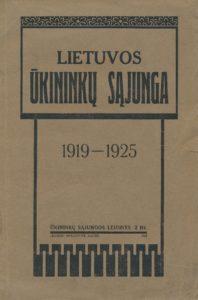 Lietuvos ūkininkų sąjunga, 1919–1925 / paruošė P. M-ys. Kaunas, 1925. PAVB S 17033