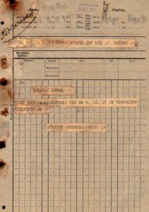 Telegrama Žemaičių vyskupijos kurijos kanceliarijai, kurioje informuojama apie vikaro Povilo Šidlausko atvykimą į Tauragę. 1918.12.06. Panevėžio vyskupijos kurijos archyvas