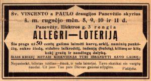 [Šv. Vincento Pauliečio draugijos Panevėžio skyriaus organizuojamos loterijos skelbimas] // Panevėžio balsas. 1933, rugs. 10, p. 1.