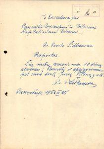 Šidlauskas, Povilas. Pranešimas Panevėžio vyskupui ir Vilniaus kapituliniam vikarui Kazimierui Paltarokui. Panevėžys. 1956.02.25. Panevėžio vyskupijos kurijos archyvas