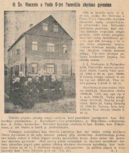 Iš Šv. Vincento a Paulo D-jos Panevėžio skyriaus gyvenimo // Panevėžio balsas, 1934, birž. 24, p. 4.