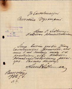 Šidlauskas, Povilas. Pranešimas J. E. Panevėžio vyskupui Kazimierui Paltarokui, kad nuo 1932 m. sausio 1 d. kanauninkas P. Šidlauskas pradėjo eiti Panevėžio katedros administratoriaus pareigas. 1932.01.06. Panevėžio vyskupijos kurijos archyvas