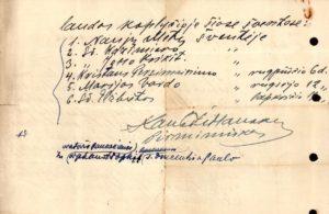 Šv. Vincento Pauliečio draugija. Panevėžio skyrius. Prašymas J. E. Panevėžio vyskupui Kazimierui Paltarokui leisti adoruoti Švč. Sakramentą šv. Vincento Pauliečio draugijos vaikų prieglaudos koplyčioje. Su Draugijos pirm. kan. Povilo Šidlausko autografu. Panevėžys. 1935.11.18. Panevėžio vyskupijos kurijos archyvas
