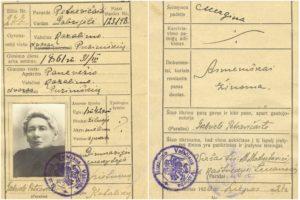 Gabrielei Petkevičaitei 1920 m. liepos 24 d. išduoto vidaus paso kortelė (Lietuvos literatūros ir meno archyvas)