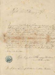 Mintaujos privačios Dorotėjos mergaičių mokyklos mokslo baigimo pažymėjimas, išduotas Gabrielei Petkevičaitei. 1876 m. LLTI MB F30-861