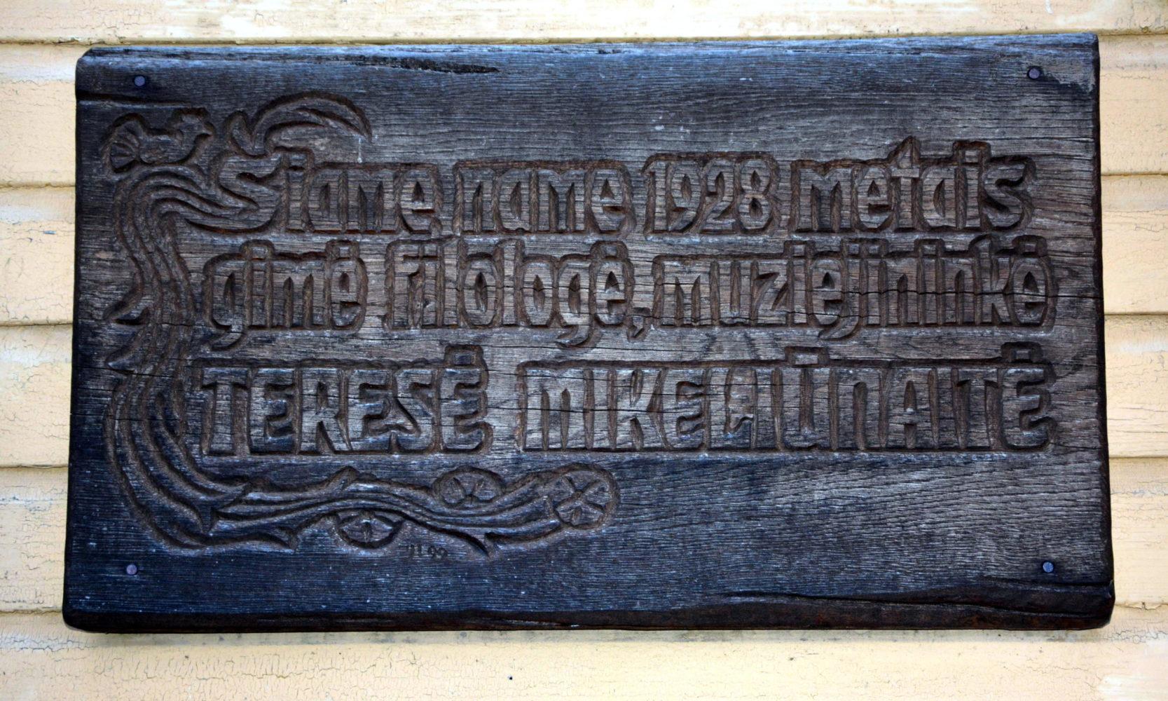 Atminimo lenta Teresei Mikeliūnaitei. Audriaus Mikeliūno nuotrauka